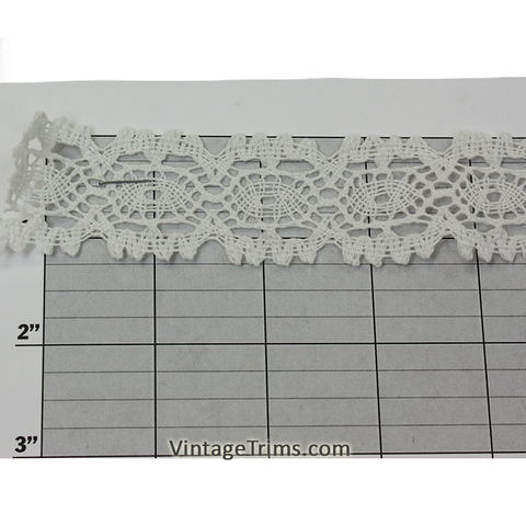 "Ovals Cotton Cluny Lace 1-1/4"" (Per Yard) White"