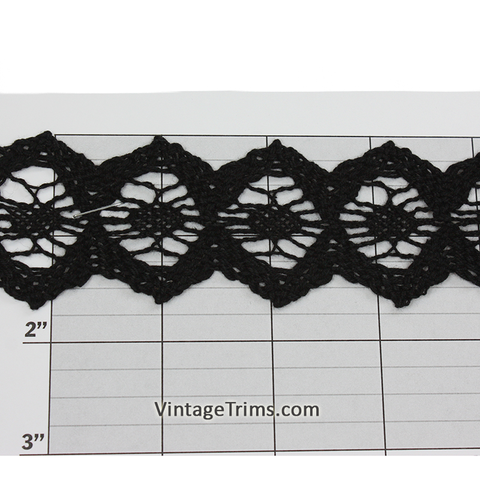 "Hexagon Cotton Cluny Lace 1-5/8"" (Per Yard) Black"