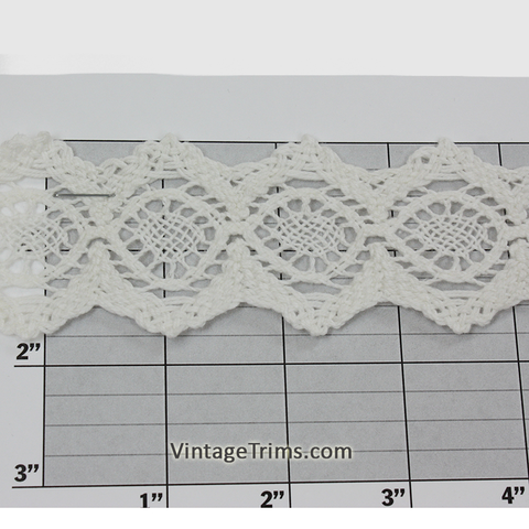 "Hexagon Cotton Cluny Lace 1-3/4"" (Per Yard) White"