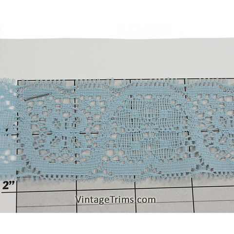 "Floral Flat Lace 1-3/4"" (Per Yard) Light Blue"