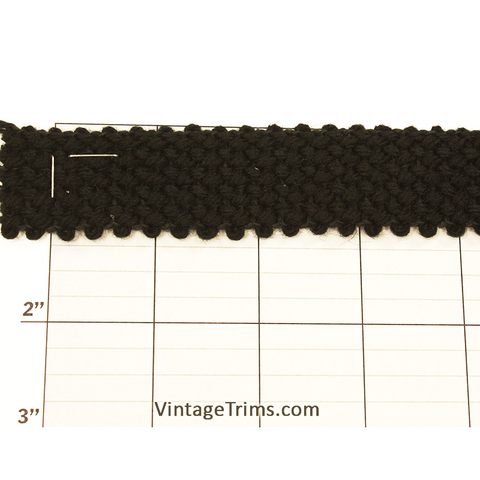 "Wool Braid Fabric Trim 1-1/8"" (Per Yard) Black"