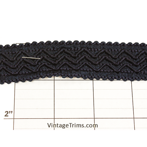 "Triple ZigZag Braid Fabric Trim 1-1/8"" (Per Yard) Navy"