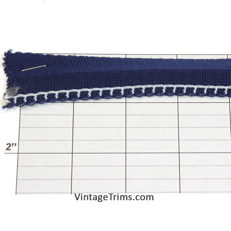 "Overcast Stitch Foldover Braid 1"" folded to 1/2"" (Per Yard) Navy/White"