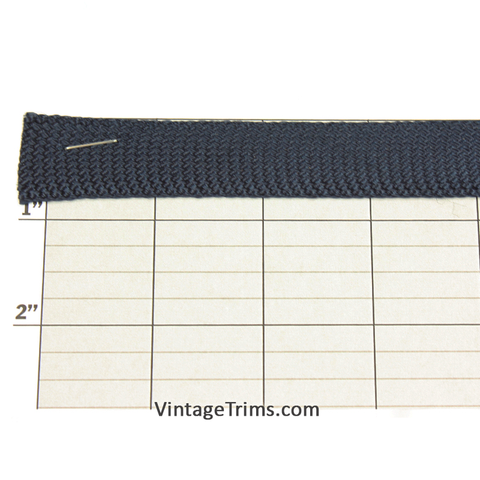 "Rayon Flat Braid Fabric Trim 7/8"" (144 Yard Roll) Navy Blue"