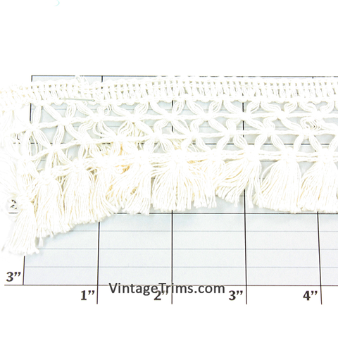 "Knotted Tassel Fringe 2"" (72 Yard Roll) Off-White"