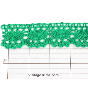 "Ovals Scalloped Edge Cluny Lace 1-1/4"" (Per Yard) Kelly Green"