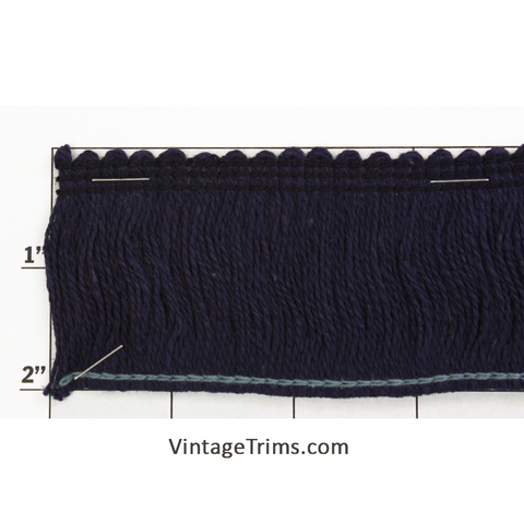"Brush Fringe Fabric Trim 2"" (Per Yard) Navy"