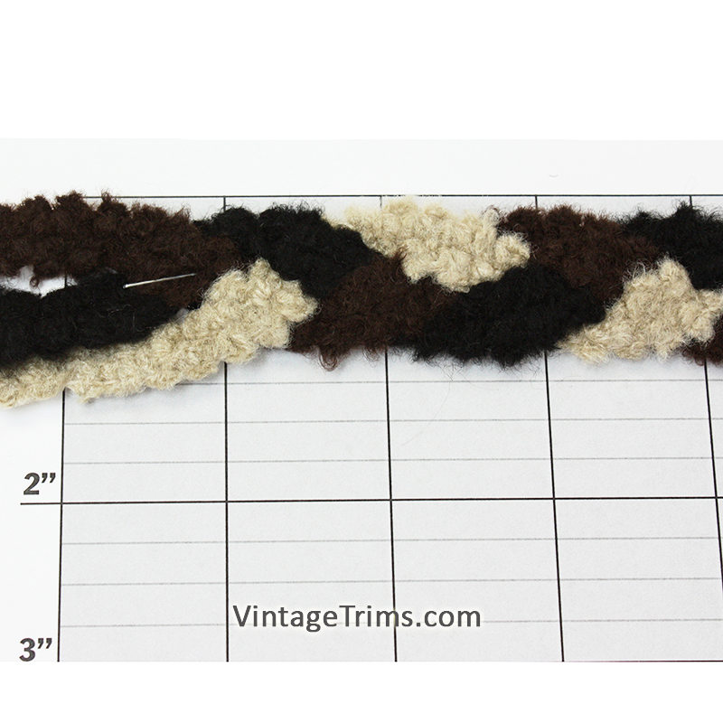 "Tri-Color Fuzzy Braid Unique Jacquard 1"" (Per Yard) Black/Brown/Beige"