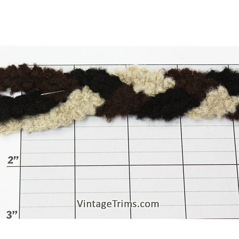 "Tri-Color Fuzzy Braid Unique Jacquard 1"" (50 Yard Roll) Black/Brown/Beige"