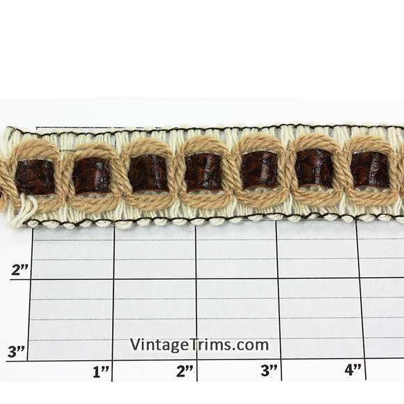 Square Leatherette Inset Braid 1-1/4