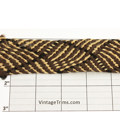 "Diamond Wave Unique Jacquard 1-1/2"" (Per Yard) Tan/Black"