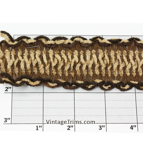 "Chenille Scalloped Edge Unique Jacquard 1-3/4"" (Per Yard) Brown/Tan/Beige"