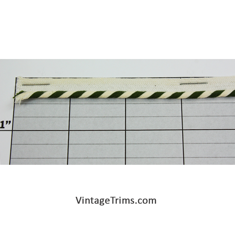 "Lip Cord 1/8"" (Per Yard) Loden Green/White"