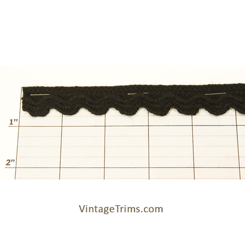 "Scalloped Braid 7/8"" (Per Yard) Black"