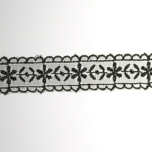 "1 ?"" Lace- Embroidered Fabric Trim"