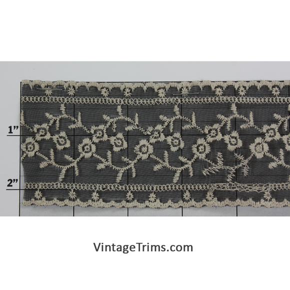 Embroidered Sheer Fabric Trim 2-1/4