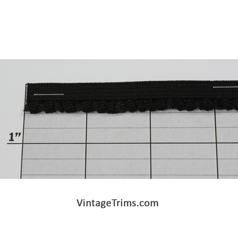 "Ruffled Elastic 1/2"" (288 Yard Roll) Black"