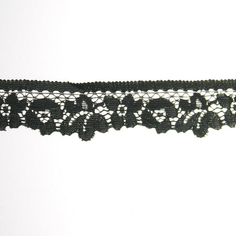 "Floral Elastic Lace 1"" (297 Yard Roll) Black"