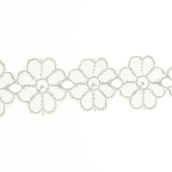 "1 1/8"" Lace- Embroidered Fabric Trim"