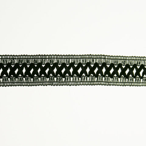 """X"" Center Inset Braid 1"" (Per Yard) Black"