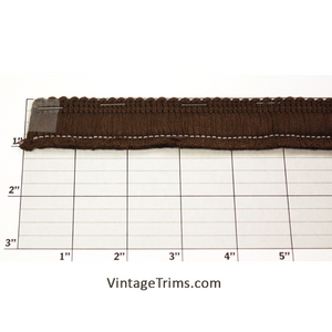 "Brush Fringe 1-1/8"" (Per Yard) Chocolate Brown"