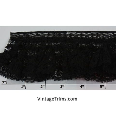 "Gathered Lace w/Border 3"" (Per Yard) Black"
