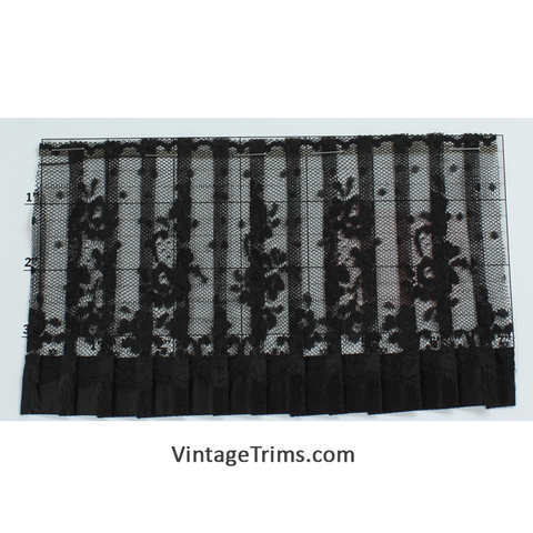 "Pleated Tulle Lace Trim 4"" (Per Yard) Black"