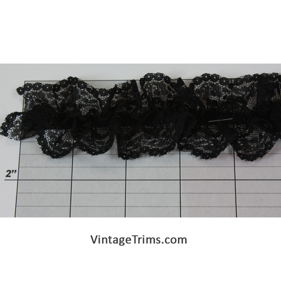 Gathered Elastic Lace 1-3/4