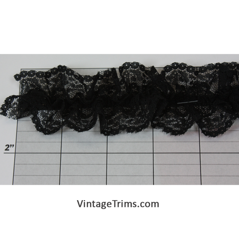 "Gathered Elastic Lace 1-3/4"" (Per Yard) Black"