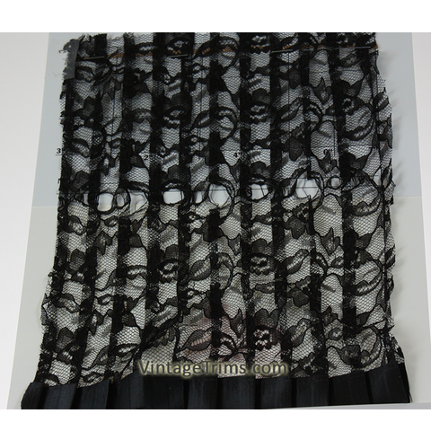 "Pleated Tulle Lace Trim 10"" (Per Yard) Black"