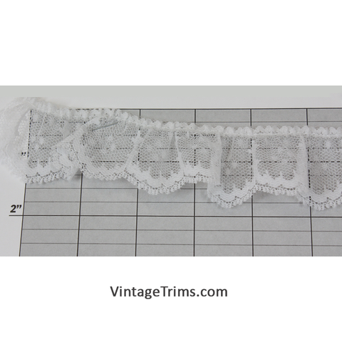 "Gathered Lace Trim 1-1/2"" (Per Yard) White"