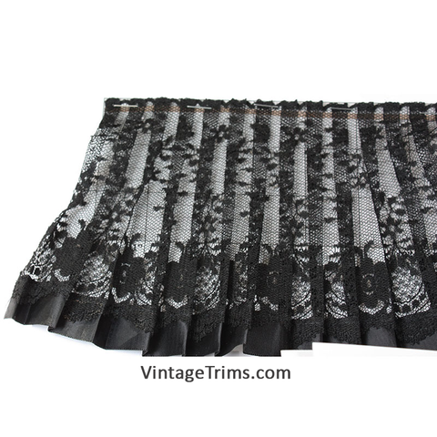 "Pleated Tulle Lace Trim 5-3/8"" (Per Yard) Black"