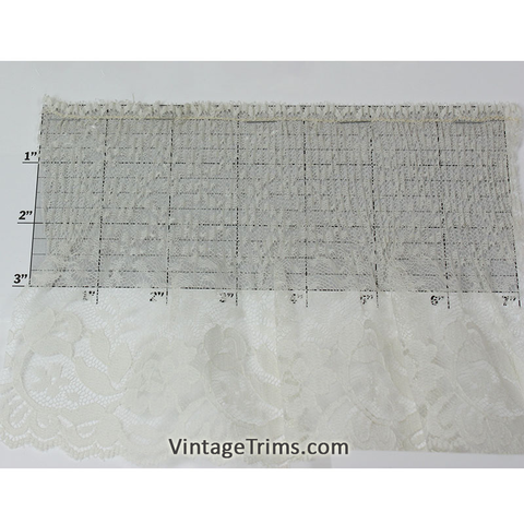 "Pleated Lace Trim 5-1/2"" (Per Yard) Ivory"