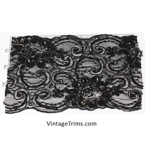 Beaded Flat Lace Trim 4-1/2
