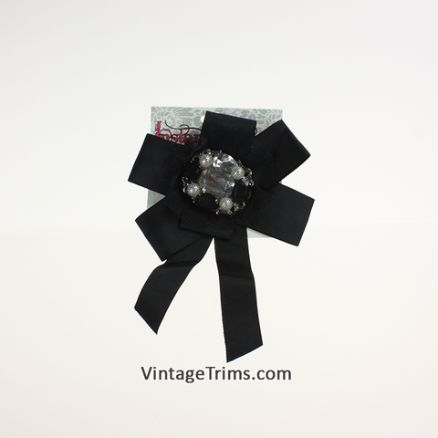 Jeweled Black Bow 5""
