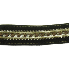 "Unique Leather Braided Jacquard 15/16"" (Per Yard) Brown/Cream/Gold"