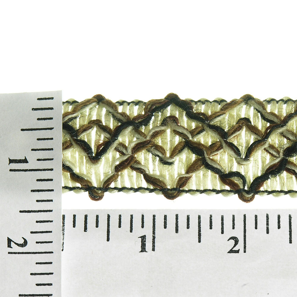 "Intricate Diamond Weaved Unique Jacquard 1-1/4"" (Per Yard) Black/Brown/Ivory"