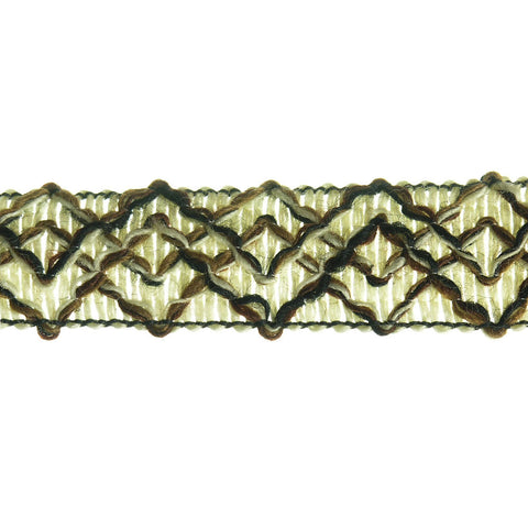 "Intricate Diamond Weaved Unique Jacquard 1 1/4"" (36 Yard Roll) Black/Brown/Ivory"