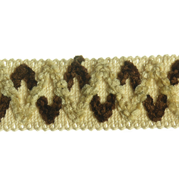 Diamond Pattern Braid (Per Yard) Brown/Cream
