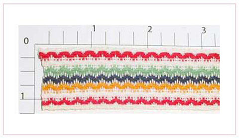 "Wavy Line Jacquard 1-1/8"" (Per Yard) Multicolor on White"