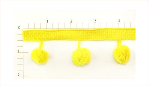 Yellow Ball Fringe Fabric Trim, 144 Yard Roll
