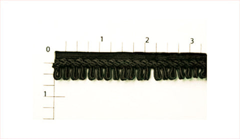 "Rayon Loop Fringe Fabric Trim 5/8"" (Per Yard) Black"
