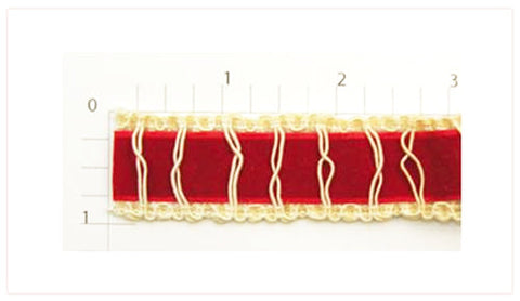 "Velour Inset Braid 1"" (Per Yard) Red/Ivory"