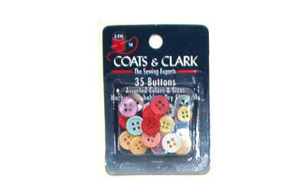 Coats & Clark Button, 35-count Package of Assorted Colors