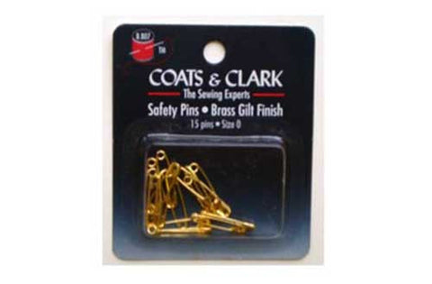 10 cards of Coats & Clark Brass Safety Pins,15-pack