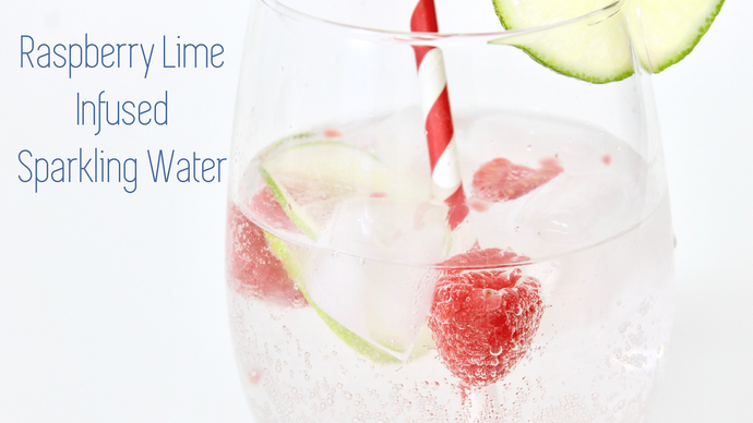Here is a Healthy Raspberry Lime Infused Sparkling Water