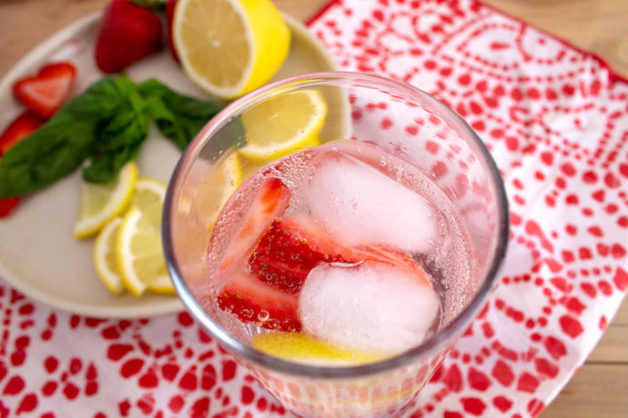 Making a Strawberry Basil Sparkling Water