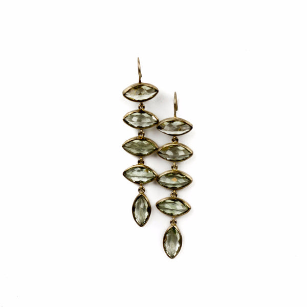 "sterling silver 3"" drop earrings with 5 marquis cut green amethyst stones"