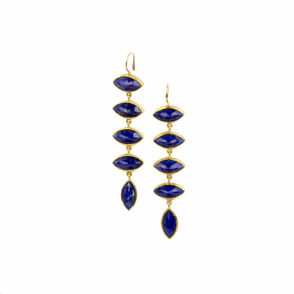 "18k gold vermeil 3"" drop earrings with 5 marquis cut lapis stones"