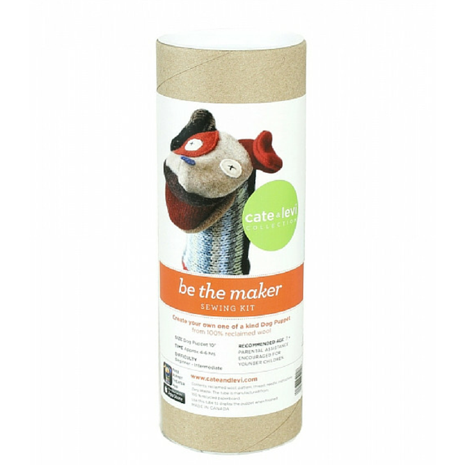 100% reclaimed wool puppet making kit by Cate & Levi is the prefect way to spend time with your young ones and create an unique puppy puppet